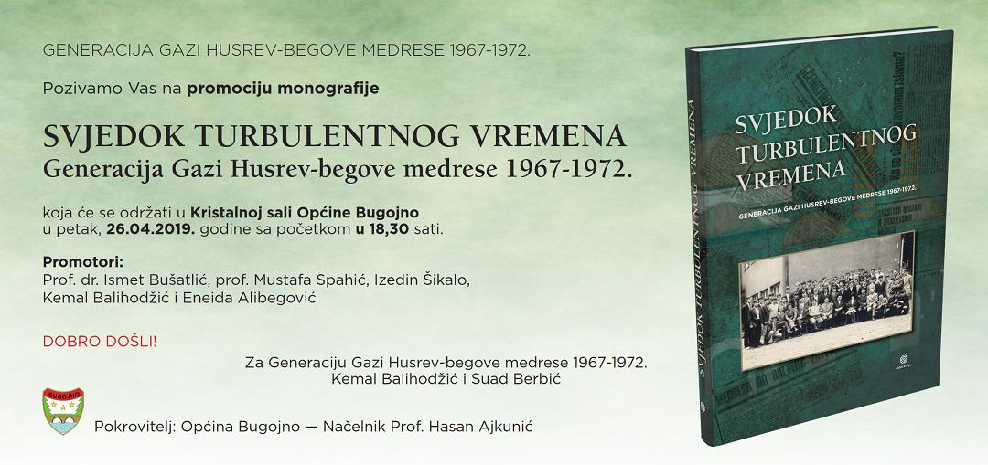 U petak, 26. aprila u Kristalnoj Sali općine Bugojno promocija monografije Svjedok turbulentnog vremena