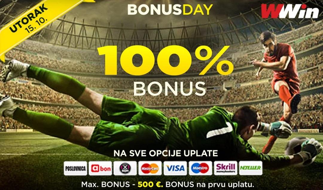 Bonus day u poslovnicama WWin – 100% bonusa na sve opcije uplate DANAS